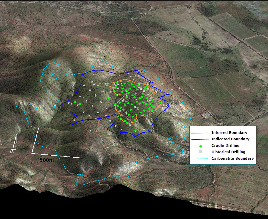 Figure 5 – Isometric view showing December Resource drilling, resource boundaries and carbonatite boundary