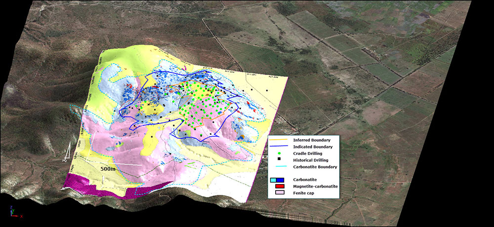 Figure 6 – Isometric view showing December Resource drilling, mapping, resource boundaries and carbonatite boundary